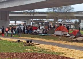 The Oakland homeless encampment before police attacked