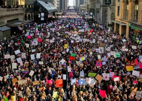 A sea of protesters floods the streets of New York City for the Women's March
