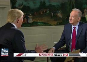 Bill O'Reilly listens aghast as Donald Trump lets an honest statement slip from his lips