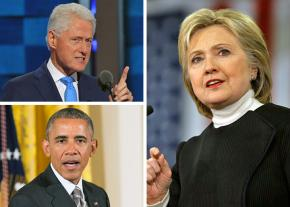Clockwise from top left: Bill Clinton, Hillary Clinton and Barack Obama