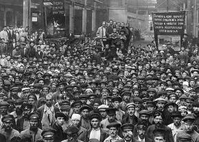 Workers gather for a mass meeting to elect delegates to the Petrograd Soviet during the Russian Revolution