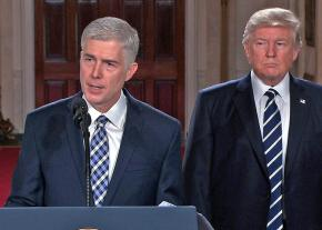 Supreme Court nominee Neil Gorsuch addresses reporters, flanked by Donald Trump