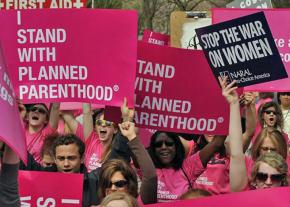 Supporters of women's reproductive rights rally against latest attacks by the right