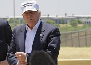 Then-candidate Donald Trump visits the Mexican border in Laredo, Texas