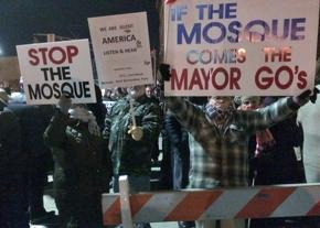 Opponents of the planned mosque in Bayonne, New Jersey