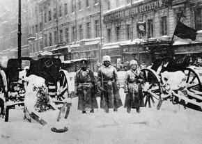 Revolutionary soldiers at the barricades in the early days of the February Revolution