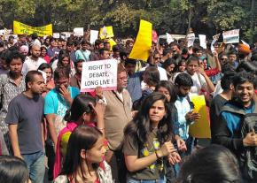 Several thousand students from around Dehli came out to oppose right-wing violence