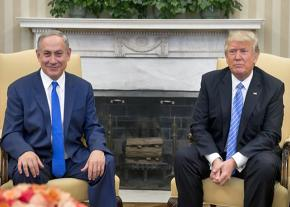 Benjamin Netanyahu and Donald Trump at a joint press conference in the White House