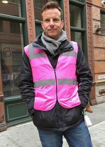 An anti-choice protester poses as a clinic escort outside Planned Parenthood in Manhattan