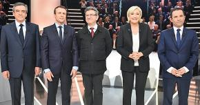 France's leading presidential candidates, from left: François Fillon, Emmanuel Macron, Jean-Luc Mélenchon, Marine Le Pen and Benoît Hamon