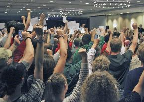 Activists from around the country at an evening plenary of the annual Socialism conference