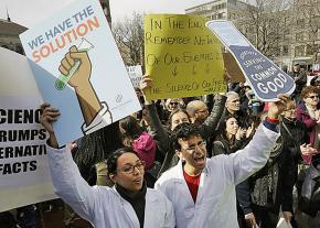 Scientists protesting Trump in Boston