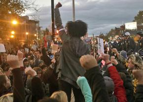 Students at Ohio State University march against racism following Trump's election
