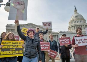 Protesters demonstrate outside the Capitol as the House passed the AHCA