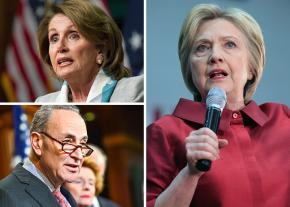 Clockwise from top left: Nancy Pelosi, Hillary Clinton and Chuck Schumer