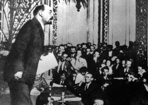 Vladimir Lenin addresses a congress of the Communist International