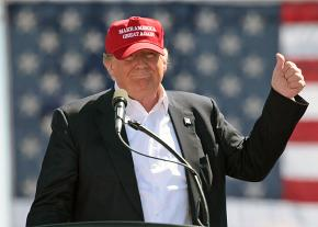 Donald Trump riles up his supporters during a campaign stop in Arizona