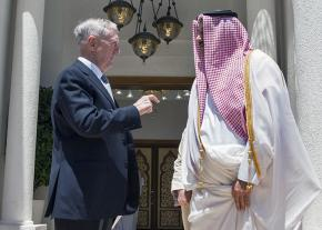 U.S. Defense Secretary James Mattis (left) with Qatari Emir Tamim bin Hamad Al Thani