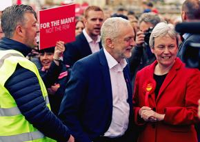 Jeremy Corbyn on the campaign trail with other Labour Party members