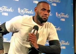 LeBron James speaks about racism during a press conference