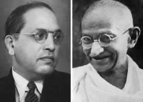 Dr. Bhim Rao Ambedkar (left) and Mahatma Gandhi