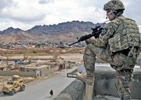 U.S. troops patrol in Farah City, Afghanistan