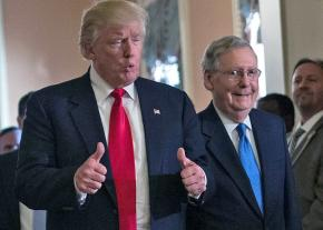 Trump with Senate Majority Leader Mitch McConnell in the U.S. Capitol
