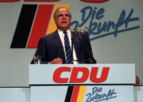 Then German Chancellor Helmut Kohl addresses a party conference of the Christian Democratic Union