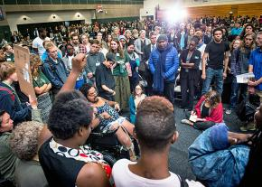 Students rally against racism at Evergreen State College