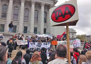 Graduate workers rally for a fair contract at the University of Wisconsin-Madison