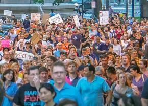 Marching in Washington, D.C., in solidarity with Charlottesville, Virginia