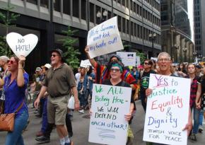 Marching against racism in Chicago on August 27