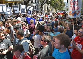Protesters pack the streets in San Francisco to protest the far right