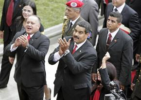 Venezuelan President Nicolás Maduro (center) and former National Assembly Speaker Diosdado Cabello (front left)