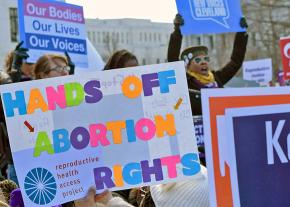 Pro-choice activists rally in defense of abortion rights