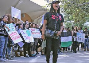 Students at Cal State Fullerton rally against the right