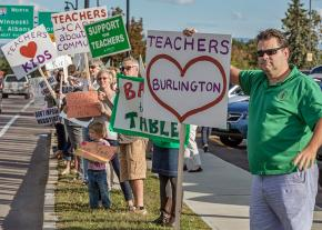 Burlington teachers and their supporters on the picket line during the 2016 contract battle