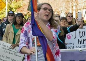 Scout Schultz leads a protest at Georgia Tech