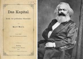 Left: title page from the 1867 edition of Capital; right: Karl Marx