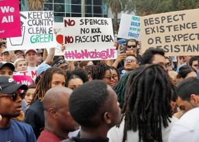 Students and community members rally against Richard Spencer at the University of Florida