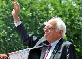 Senator Bernie Sanders greets supporters at a rally for single-payer health care