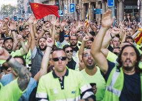 Marching in the streets of Barcelona during the Catalan general strike