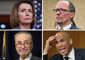 Clockwise from top left: Nancy Pelosi, Tom Perez, Cory Booker and Chuck Schumer