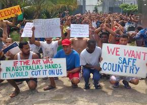 A protest in a migrant prison camp on Manus in Papua New Guinea