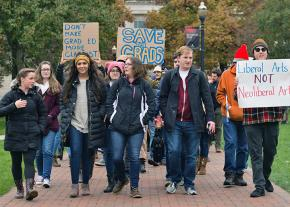 Graduate students and their supporters on the march at Ohio State