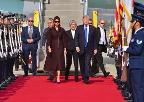 Donald Trump and Melania Trump arrive in South Korea