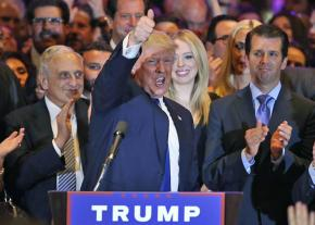 Donald Trump celebrates on Election Night 2016