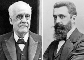 Lord Balfour (left) and Theodor Herzl (right)
