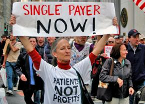 Nurses and activists march for a single-payer health care system