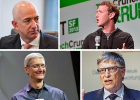 Clockwise from to left: Jeff Bezos, Mark Zuckerberg, Bill Gates and Tim Cook
